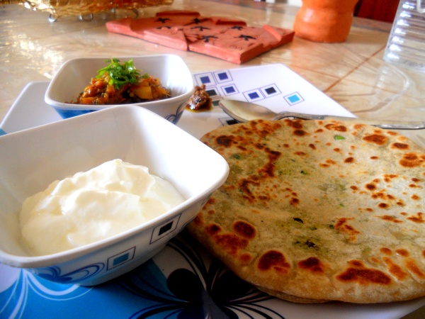 Stuffed Paranthe (Flabread) Served With Curd & Baingan Bharta
